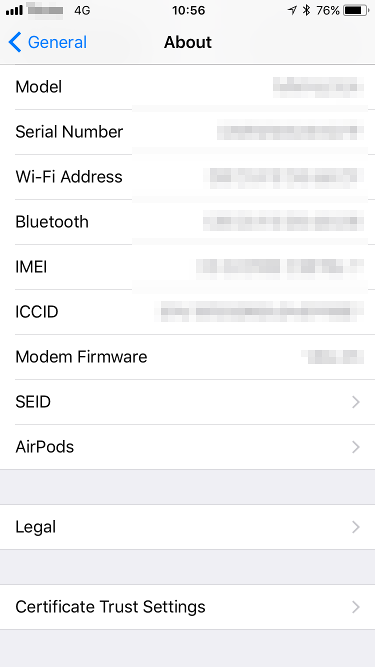 AirPod Firmware - About Screen
